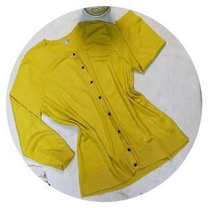 Halogen Gold Mustard Yellow Cardigan 3/4 Sleeve XL